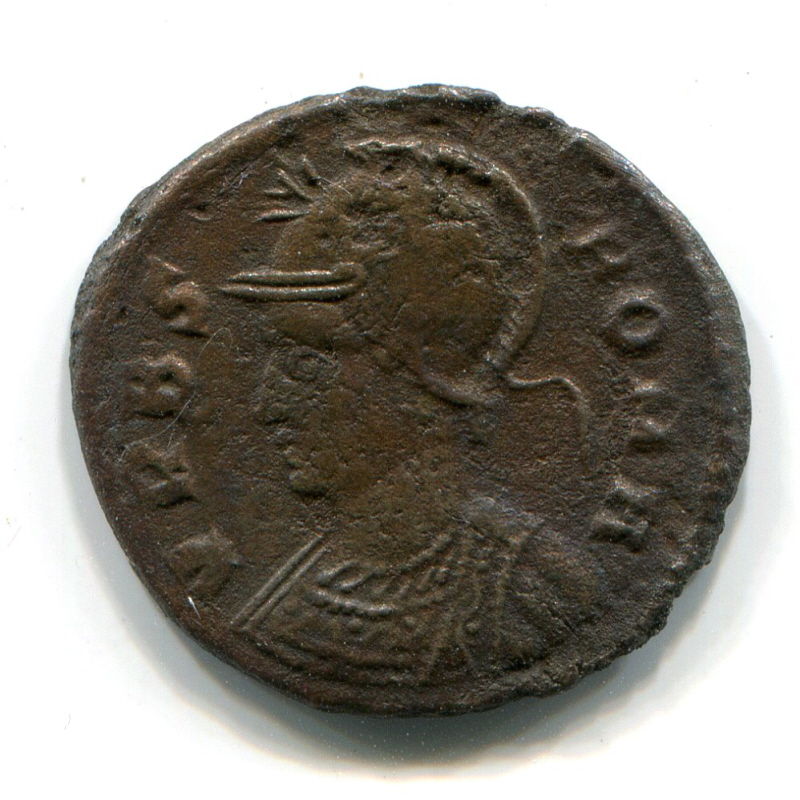 Roman coin showing the tutelary goddess, Roma.